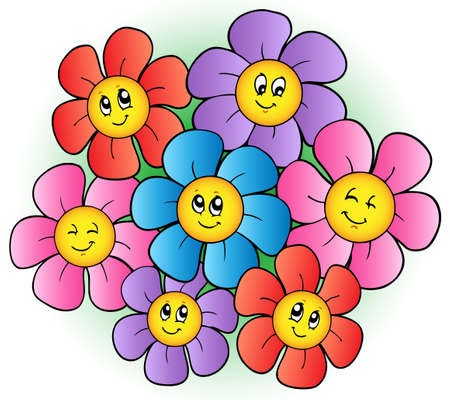 cartoon bouquet: Group of cartoon flowers