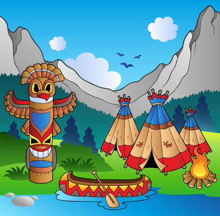 totem: Indian village with totem and canoe