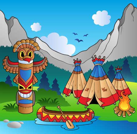 totem indien: Village indien avec totem et cano�