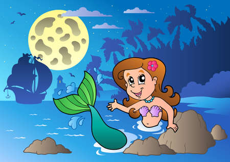 Night seascape with swimming mermaid  Vector
