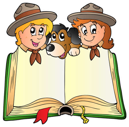 open girl: Opened book with two scouts and dog