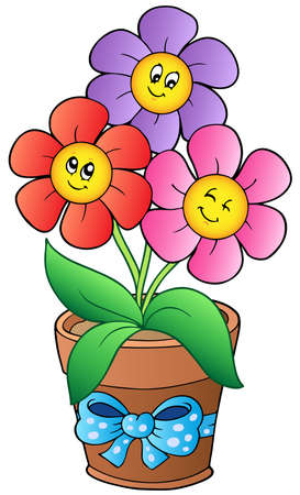 flowers in vase: Pot with three cartoon flowers
