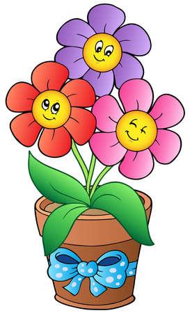 blumen cartoon: Topf mit drei Cartoon-Blumen Illustration