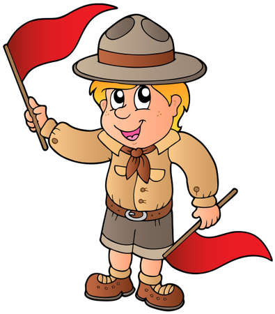 Scout boy giving flag signal
