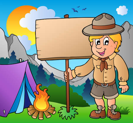 Scout boy holding board outdoor Vector