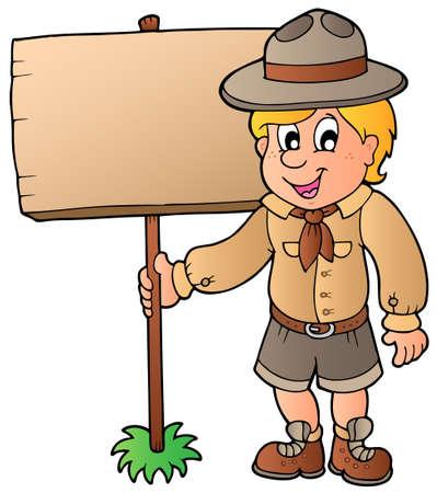 letrero: Boy scout con tabla de madera  Vectores
