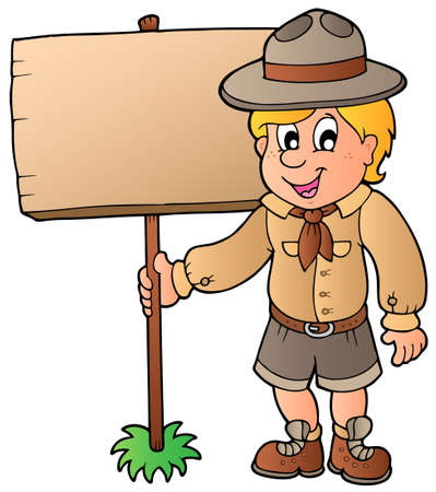 notice: Scout boy holding wooden board