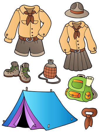 Scout clothes and gear collection Stock Vector - 9528292