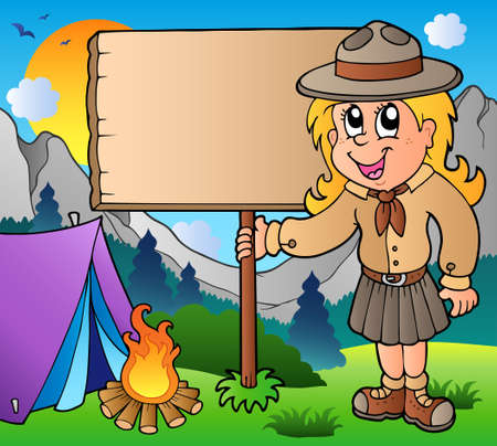Scout girl holding board outdoor Stock Vector - 9528296