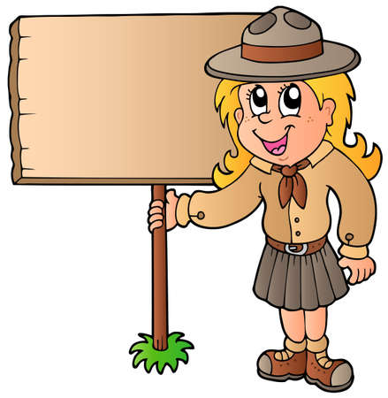 Scout girl holding wooden board  Stock Vector - 9528313
