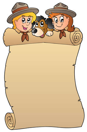 Scroll with two scouts and dog  Vector