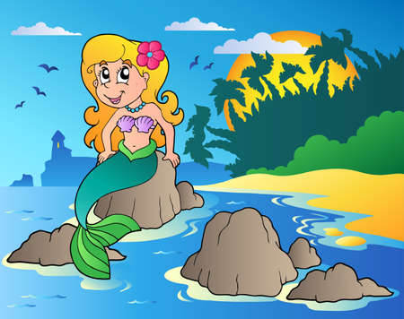 Seascape with cartoon mermaid  Vector