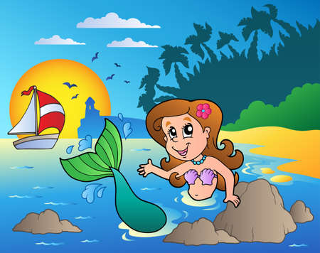 Seascape with swimming mermaid Vector