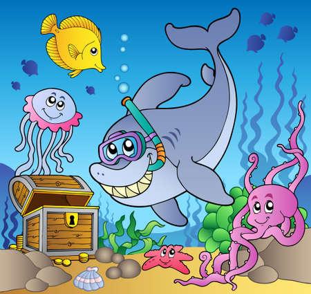 schnorchel: Shark Diver mit Schatzkiste  Illustration