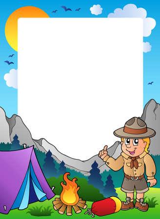 pfadfinderin: Sommer-Rahmen mit Scout-Thema 1  Illustration