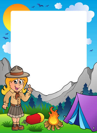 Summer frame with scout theme 2 Vector