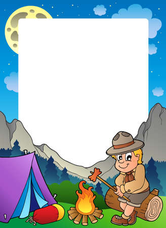 bonfire night: Summer frame with scout theme 3  Illustration
