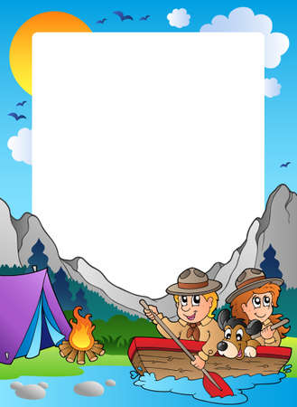 water theme: Summer frame with scout theme 4