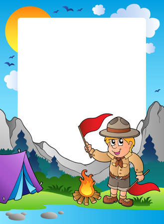 Summer frame with scout theme 5  Vector