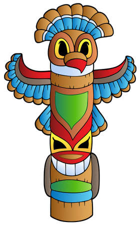 american indian: Tall Indian totem  Illustration
