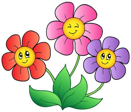 crecimiento planta: Tres dibujos animados flores Vectores