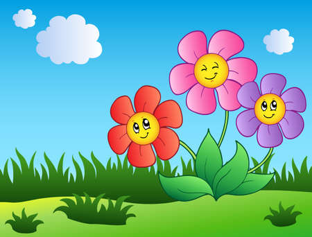 field of flowers: Three cartoon flowers on meadow