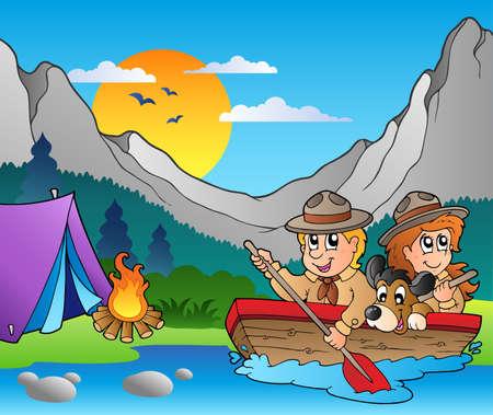 campamento de verano: Barco de madera con scouts cerca de campo  Vectores