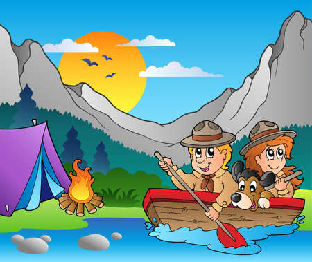 obóz: Drewnianych Å'odzi z harcerzy niedaleko obozu