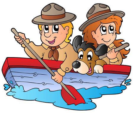 pfadfinderin: Holzboot mit Scout jungen und M�dchen