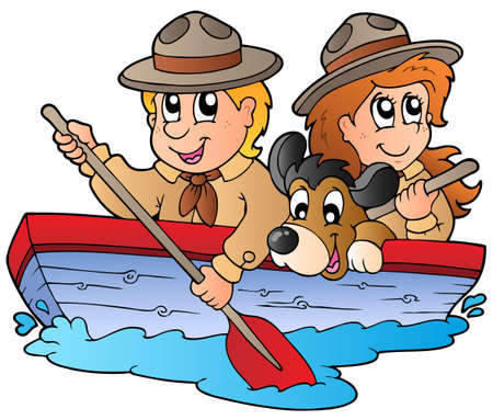 summer dog: Wooden boat with scout boy and girl