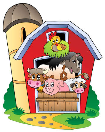 farm animal cartoon: Barn with various farm animals - vector illustration.