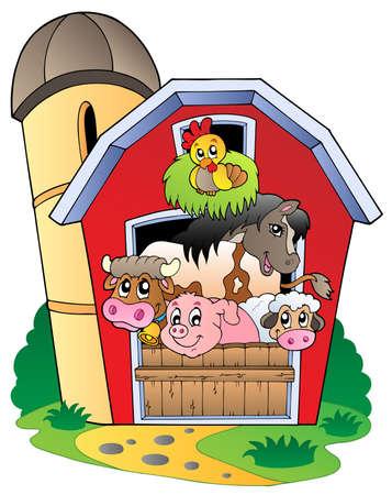 Barn with various farm animals - vector illustration.