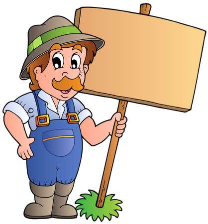 wooden work: Agricoltore di cartone animato che detiene la tavola di legno - illustrazione vettoriale.