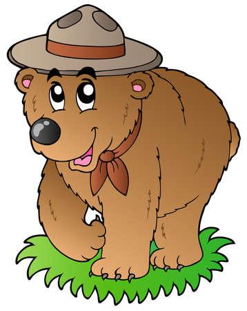 oso caricatura: Cartoon scout feliz oso - ilustraci�n vectorial.