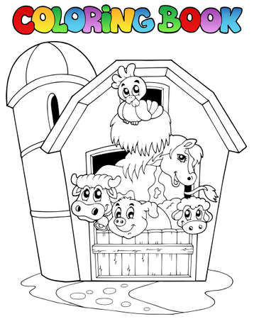 barnyard: Coloring book with barn and animals - vector illustration.