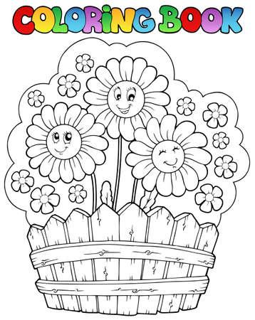 livre � colorier: Coloration du livre avec marguerites - illustration vectorielle. Illustration