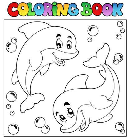 libro caricatura: Libro para colorear con delfines 1 - ilustraci�n vectorial. Vectores
