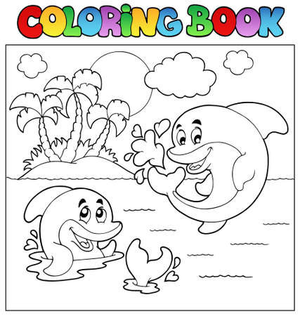 Coloring book with dolphins 2 - vector illustration. Vector