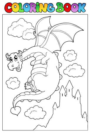 Coloring book with dragon 2 - vector illustration.