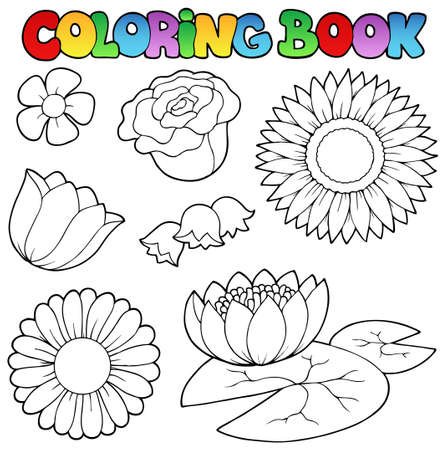 sunflower drawing: Coloring book with flowers set - vector illustration. Illustration