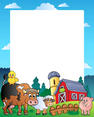 barnyard: Country frame with red barn 1 - vector illustration.
