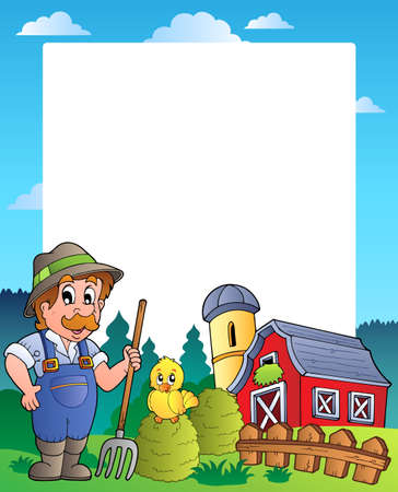 barnyard: Country frame with red barn 2 - vector illustration.