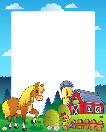 barnyard: Country frame with red barn 4 - vector illustration.