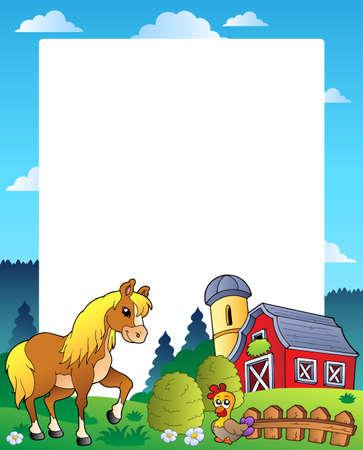 granero: Marco de pa�s con granero rojo 4 - ilustraci�n vectorial. Vectores