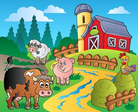 barnyard: Country scene with red barn 1 - vector illustration.