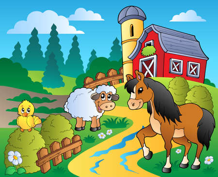 barnyard: Country scene with red barn 2 - vector illustration. Illustration
