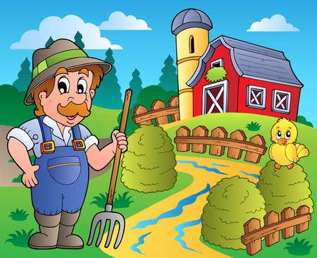 農家: 赤い納屋 3 - ベクトル イラストと国のシーン。