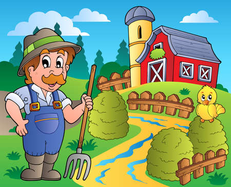 barnyard: Country scene with red barn 3 - vector illustration.