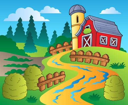 farm structures: Country scene with red barn 4 - vector illustration. Illustration