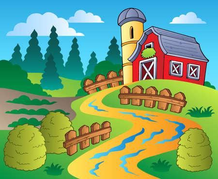 granary: Scena di paese con fienile rosso 4 - illustrazione vettoriale.